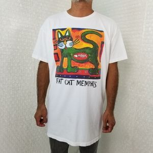 Vintage 1990s Lisa Grubb Fat Cat Memphis tshirt